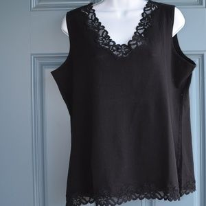 Navy Double Lace Tank by Coldwater Creek Sz. XL